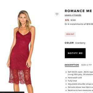 Lovers + Friends ROMANCE ME DRESS Cranberry small